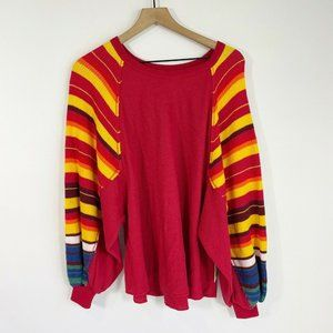 Free People Red Knit Pullover XS Batwing Sweater